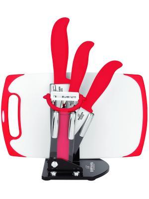 Набор ножей с доской 3 ножа, овощечистка, подставкой BOHMANN. Цвет: красный