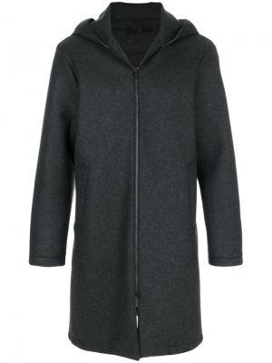 Пальто с капюшоном Hevo. Цвет: серый