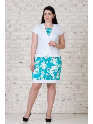 Костюм жакет и платье MAXLINE. Цвет: голубой, белый
