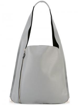 Сумка на плечо с декоративной молнией Elena Ghisellini. Цвет: серый