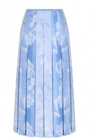 Юбка-миди в складку с принтом Victoria Beckham. Цвет: голубой