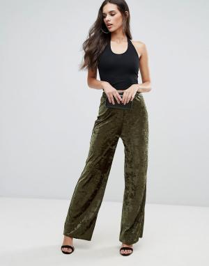 Love Широкие брюки из мятого бархата. Цвет: зеленый