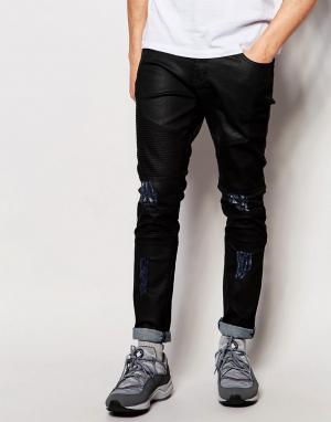 Systvm Байкерские джинсы с рваной отделкой. Цвет: черный