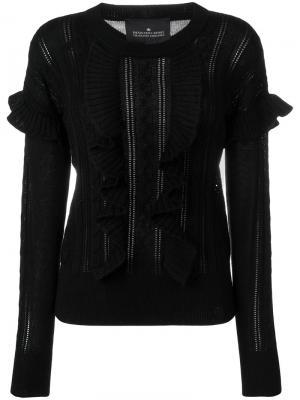 Вязаный свитер Mallory с косами и рюшами Designers Remix. Цвет: чёрный