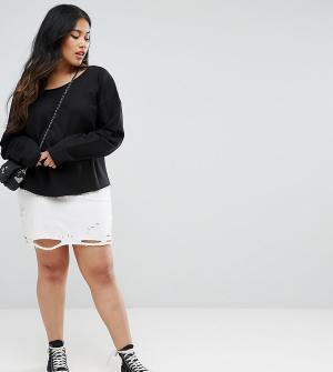 ASOS Curve Состаренная мини-юбка. Цвет: белый
