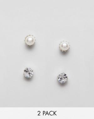 Krystal London 2 пары серег-гвоздиков с кристаллами Swarovski. Цвет: очистить