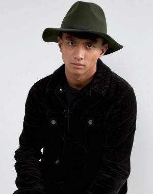 Brixton Мягкая фетровая шляпа Wesley. Цвет: зеленый