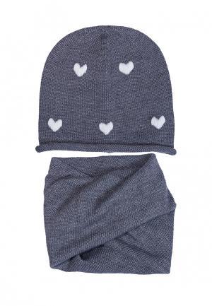 Комплект шапка и шарф FreeSpirit. Цвет: серый