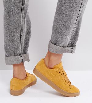 Nike Золотистые замшевые кроссовки с резиновой подошвой Blazer. Цвет: золотой