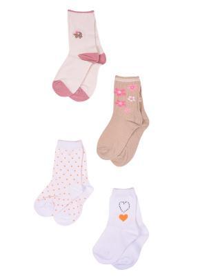 Носки, 4 пары Malerba. Цвет: бежевый, оранжевый