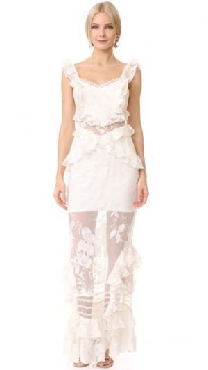 Кружевное платье Bouquet Three Floor. Цвет: оттенок белого
