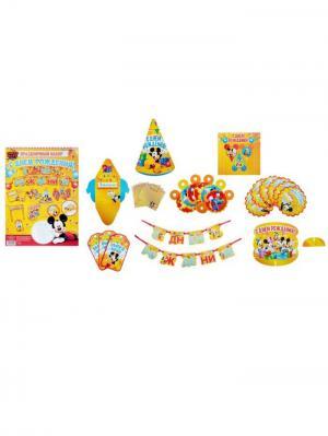 Набор для Дня Рождения, Микки-Маус Disney. Цвет: голубой, желтый, малиновый