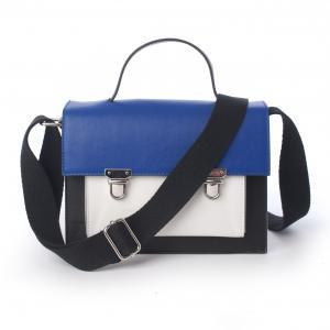 Сумка-портфель двухцветная MADEMOISELLE R. Цвет: черный/ синий/ белый