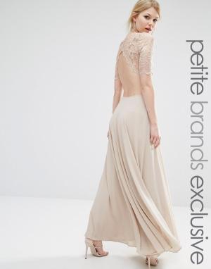 John Zack Petite Платье макси с кружевным лифом и вырезами. Цвет: бежевый