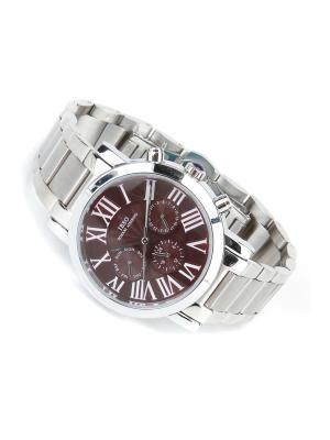 Часы на браслете IBSO. Цвет: бордовый, серебристый