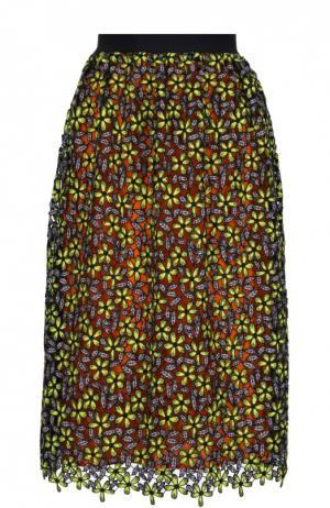 Кружевная юбка-миди с контрастной подкладкой self-portrait. Цвет: разноцветный
