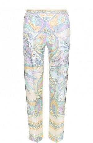 Шелковые широкие брюки с принтом Emilio Pucci. Цвет: зеленый