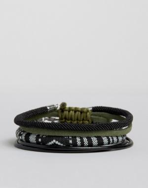 ASOS Набор плетеных браслетов черного цвета и оттенка хаки. Цвет: черный