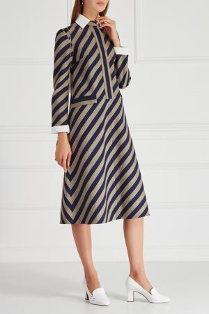 Платье в полоску VIKTORIA IRBAIEVA. Цвет: синий, серый