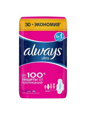 Женские гигиенические прокладки ALWAYS Ultra ароматизированные Super Quatro 30шт. Цвет: розовый