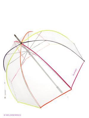Зонт Isotoner. Цвет: прозрачный, желтый, оранжевый, розовый
