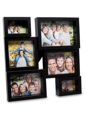 Фоторамка настенная Семейная история на 6 фото Bellezza casa. Цвет: черный