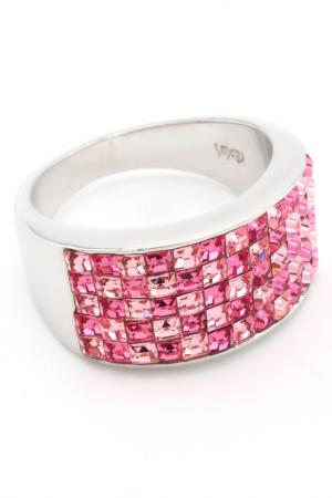 Кольцо Миниквадраты, 5рядное Crocus-Elite. Цвет: розовый