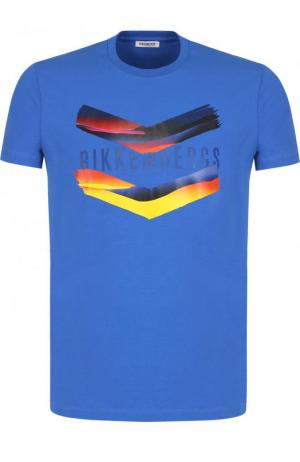 Хлопковая футболка с принтом Dirk Bikkembergs. Цвет: синий