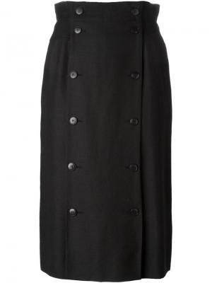 Двубортная юбка на пуговицах Jean Louis Scherrer Vintage. Цвет: чёрный