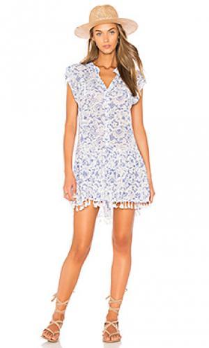 Мини платье heni Poupette St Barth. Цвет: синий
