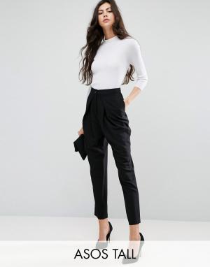 ASOS Tall Строгие брюки-галифе с запахом. Цвет: черный