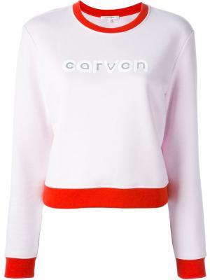 Толстовка с принтом логотипа Carven. Цвет: розовый и фиолетовый