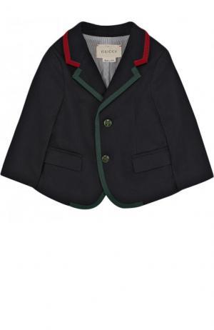 Хлопковый пиджак на двух пуговицах с контрастной отделкой Gucci. Цвет: синий
