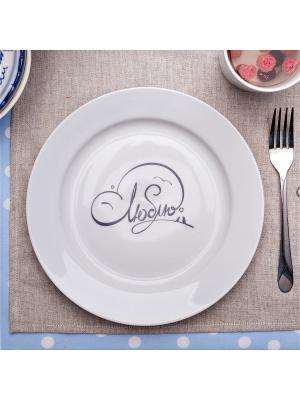 Сюжетная тарелка с надписью ЛЮБЛЮ Счастье в мелочах. Цвет: белый