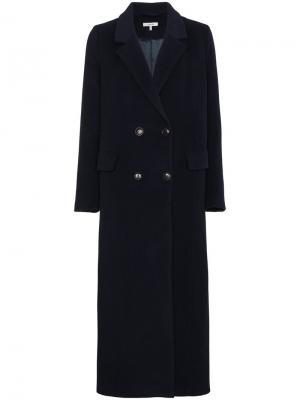 Двубортное пальто Abbey Ganni. Цвет: синий