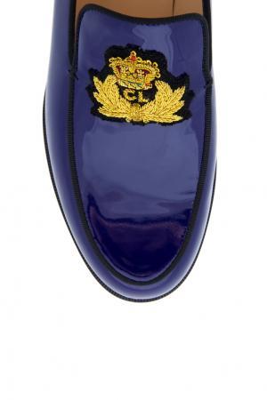 Лоферы из лакированной кожи Laperouza Christian Louboutin. Цвет: синий, золотой