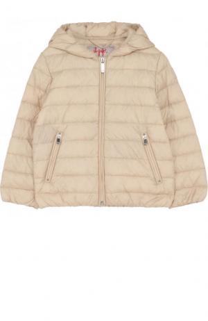Пуховая куртка с капюшоном Il Gufo. Цвет: бежевый