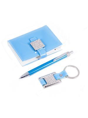 Подарочный набор: ручка, визитница, брелок Русские подарки. Цвет: голубой
