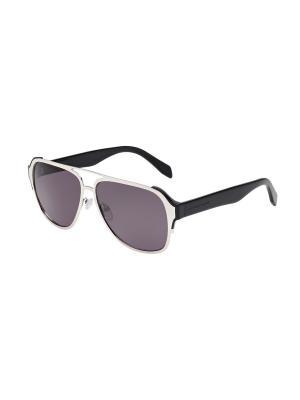 Солнцезащитные очки Alexander McQueen. Цвет: серебристый, серый