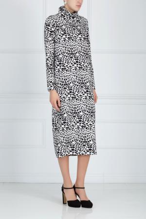 Платье с принтом ARnouveau. Цвет: черный, белый