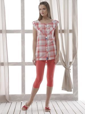 Пижама с леггинсами RELAX MODE. Цвет: красный, белый