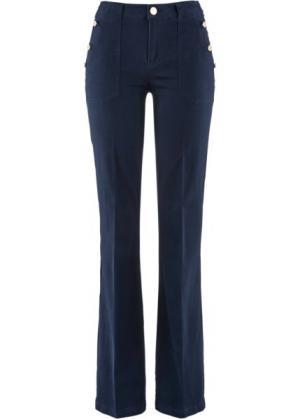 Расклешенные стрейтчевые брюки (темно-синий) bonprix. Цвет: темно-синий