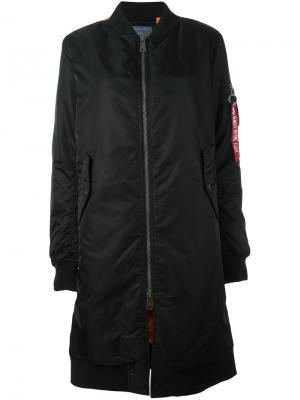 Пальто на молнии Alpha Industries. Цвет: чёрный