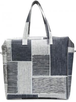 Большая сумка-тоут с лоскутным дизайном Luisa Cevese Riedizioni. Цвет: синий