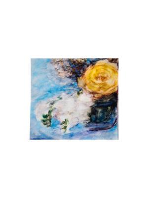 Платок Желтая роза, 90х90 см ArtNiva. Цвет: голубой, желтый