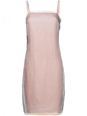 Платье с кружевной отделкой Prada. Цвет: телесный