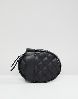 Monki Стеганая сумка-кошелек на пояс. Цвет: черный