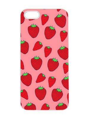 Чехол для iPhone 5/5s Клубничный принт Арт. IP5-065 Chocopony. Цвет: розовый, черный