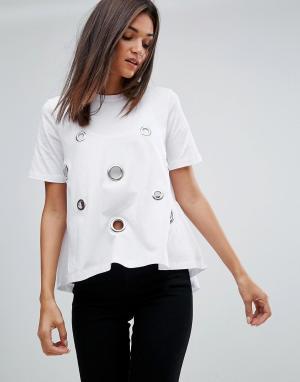Uncivilised Оверсайз-футболка с люверсами. Цвет: белый