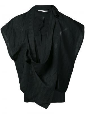Пиджак без рукавов с запахом Barbara I Gongini. Цвет: чёрный
